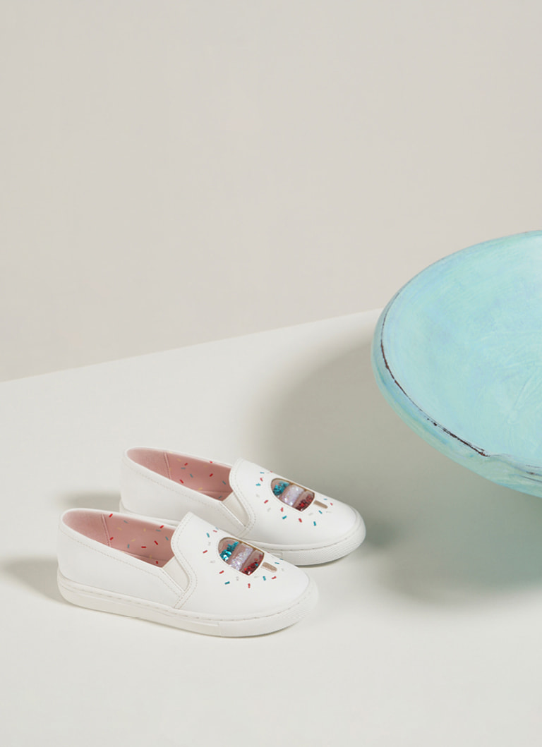 Girls' rainbow sprinkle motif sneakers in cream – CHARLES & KEITH