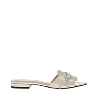 Embellished Strap Metallic Slide Sandals