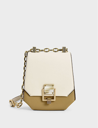 METALLIC ACCENT GEOMETRIC CROSSBODY BAG