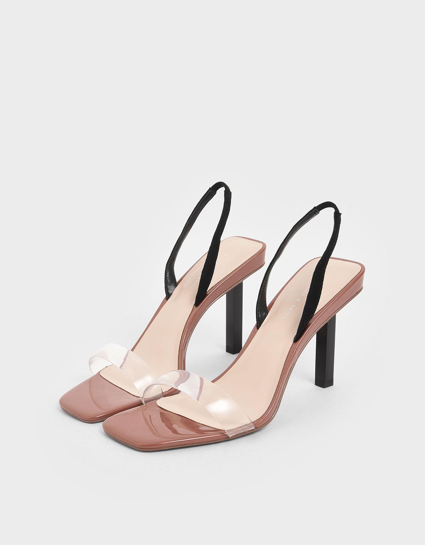 Women's brick clear strap slingback heels – CHARLES & KEITH