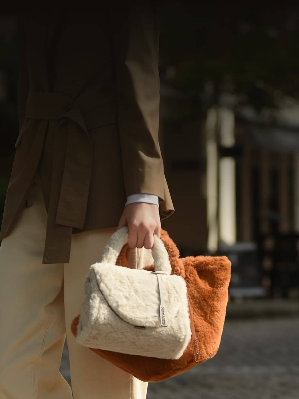 Women's textured structured bag in cream and textured trapeze bag in tan - CHARLES & KEITH