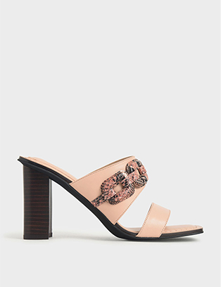 LEATHER SNAKE PRINT MULES