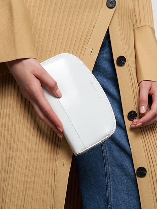 Curved Mini Long Wallet, White