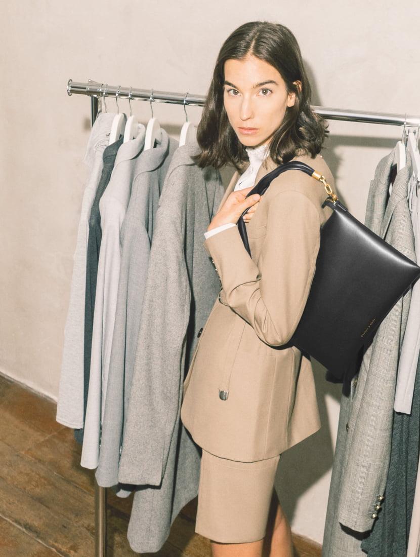 Women's hobo bag in black - CHARLES & KEITH