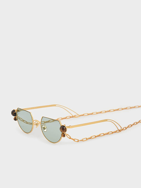 Tiger's Eye Stone Chain Link Round Cut-Off Sunglasses