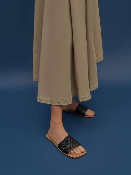 Woven Slide Sandals, Black