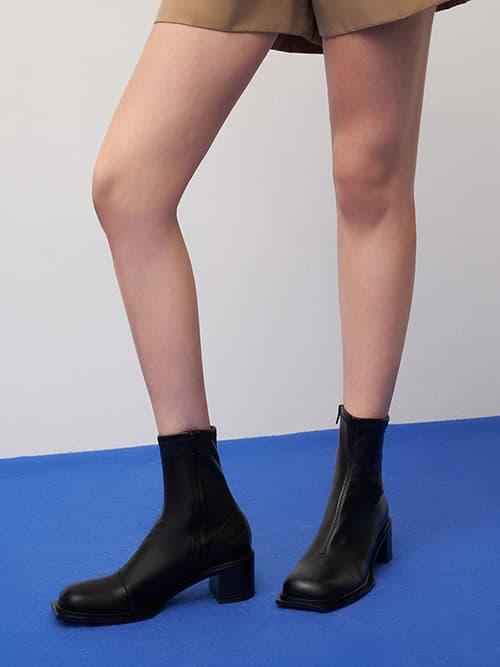 Stitch-Trim Block Heel Ankle Boots,  Black