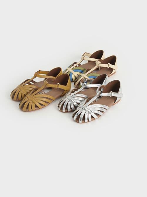 兒童幾何帶涼鞋,銀色,芥末,混色