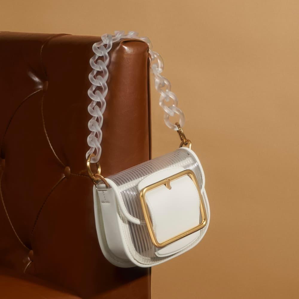 Women's acrylic chain handle crossbody bag in white – CHARLES & KEITH