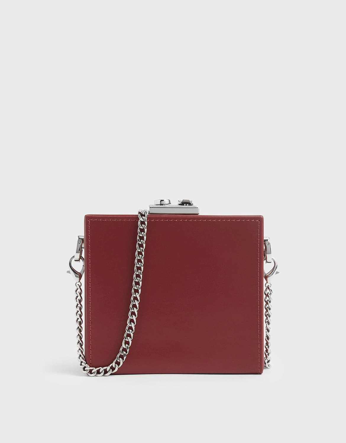 boxed leather mini square pouch in red – CHARLES & KEITH