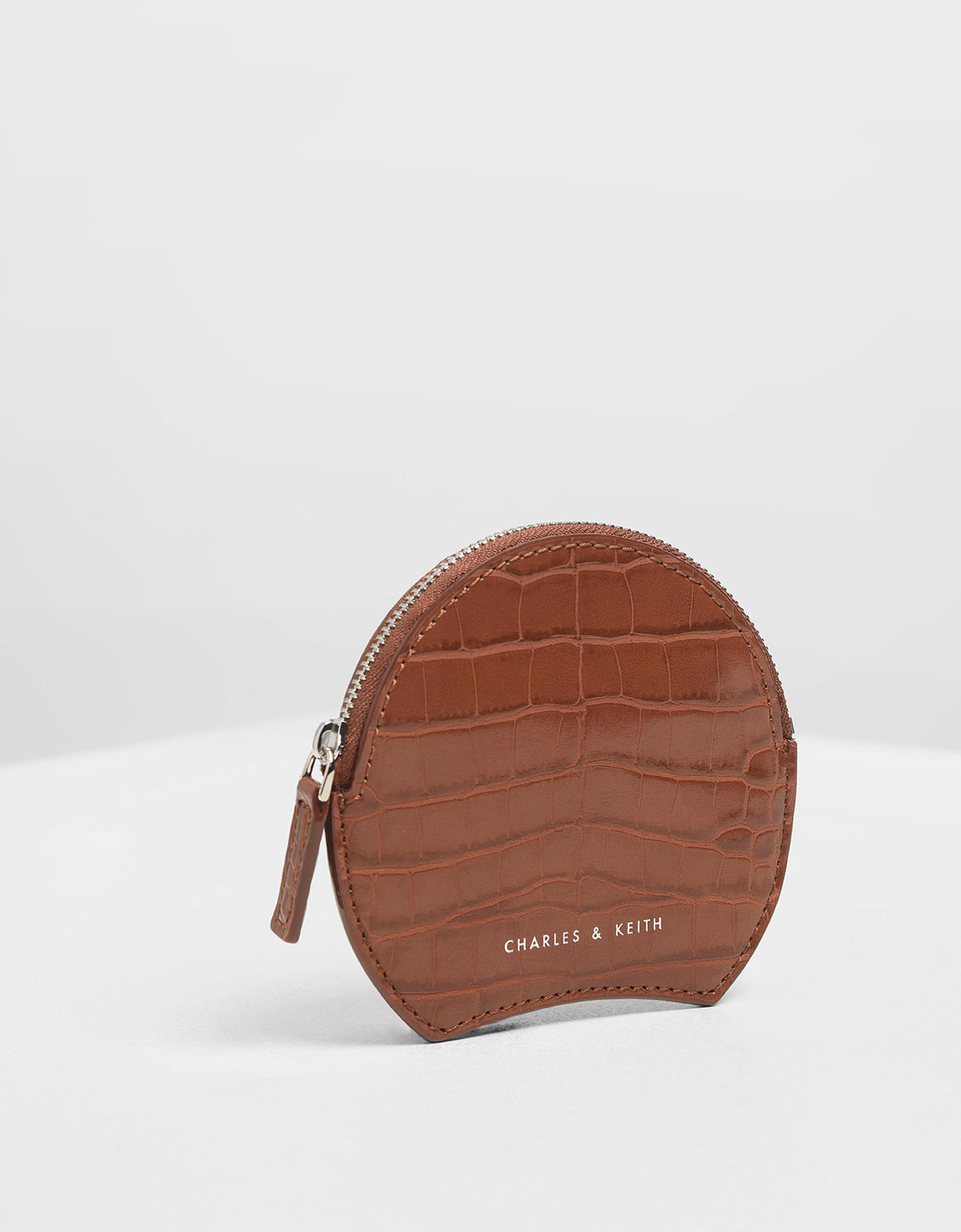 Women's Semi Circle Croc-Effect Mini Pouch in burgundy - CHARLES & KEITH