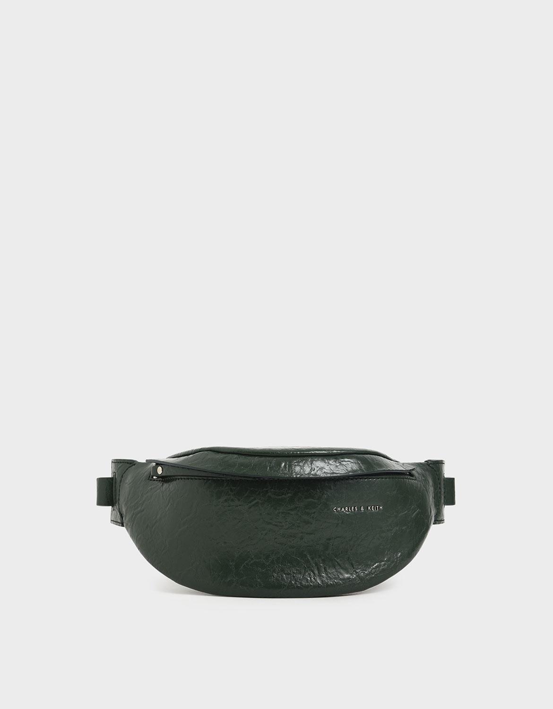women's dark green wrinkled effect belt bag