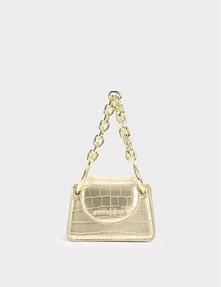 CROC-EFFECT CHUNKY CHAIN HANDLE MINI BAG