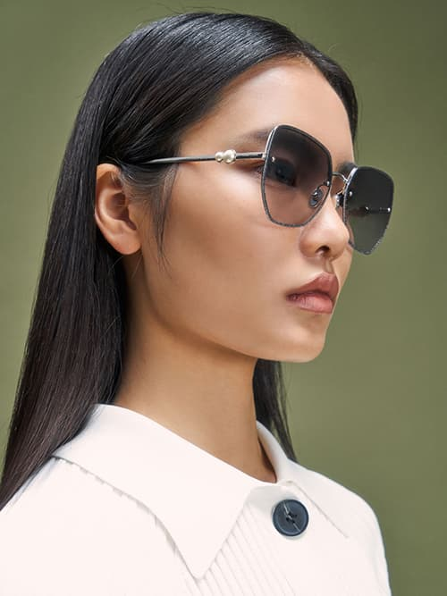 Embellished Tinted Butterfly Sunglasses, Silver