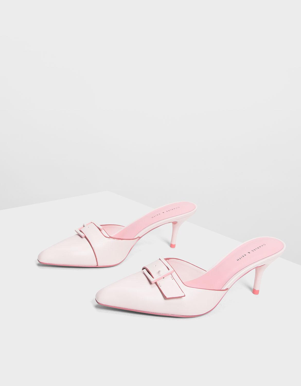 Women's Buckle Kitten Heel Mules in light pink - CHARLES & KEITH