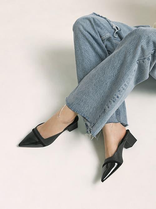 Raffia & Patent Block Heel Mules, Black