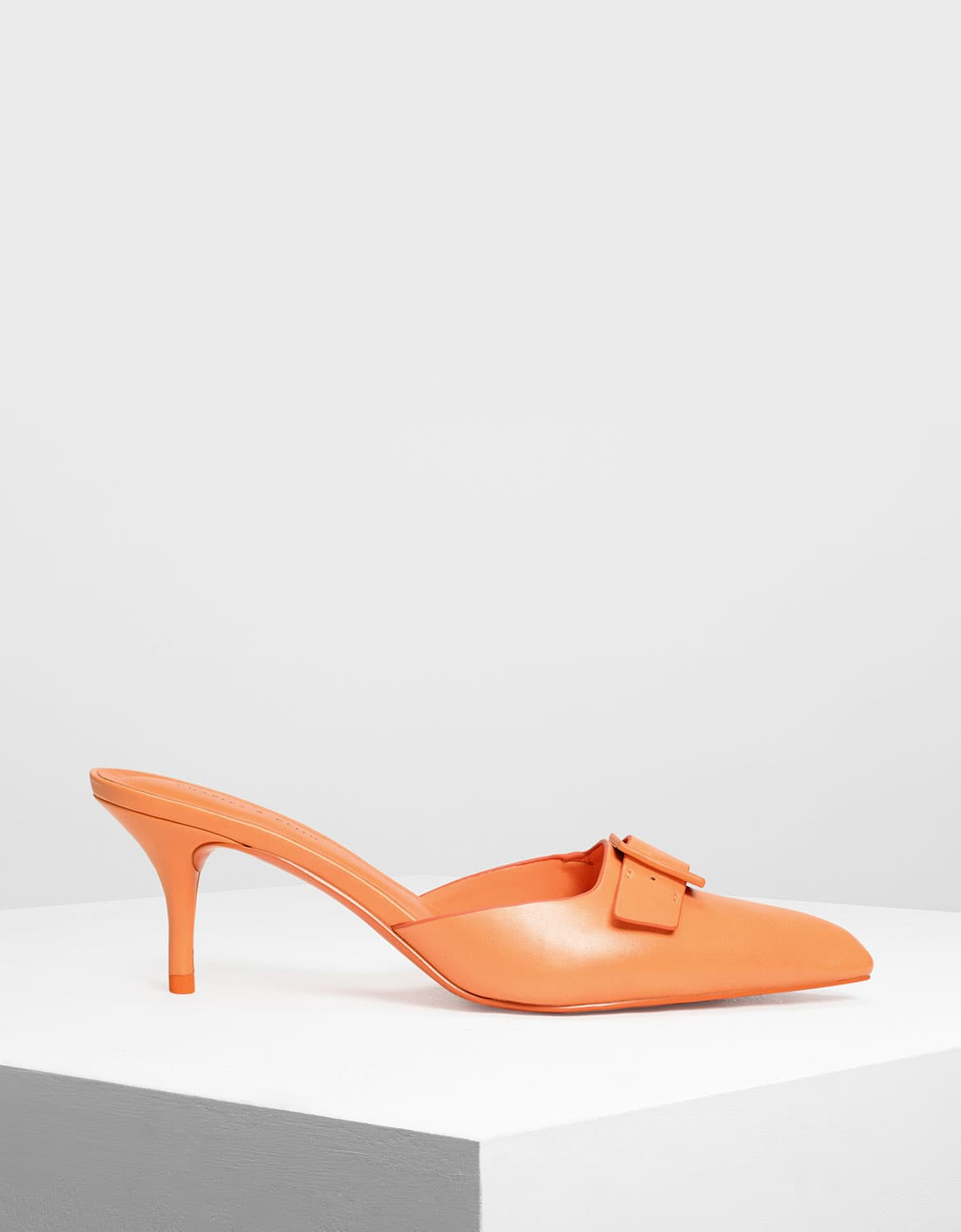 Women's buckle kitten heel mules in orange – CHARLES & KEITH