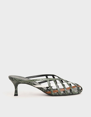 SNAKE PRINT SQUARE TOE CAGED MULES