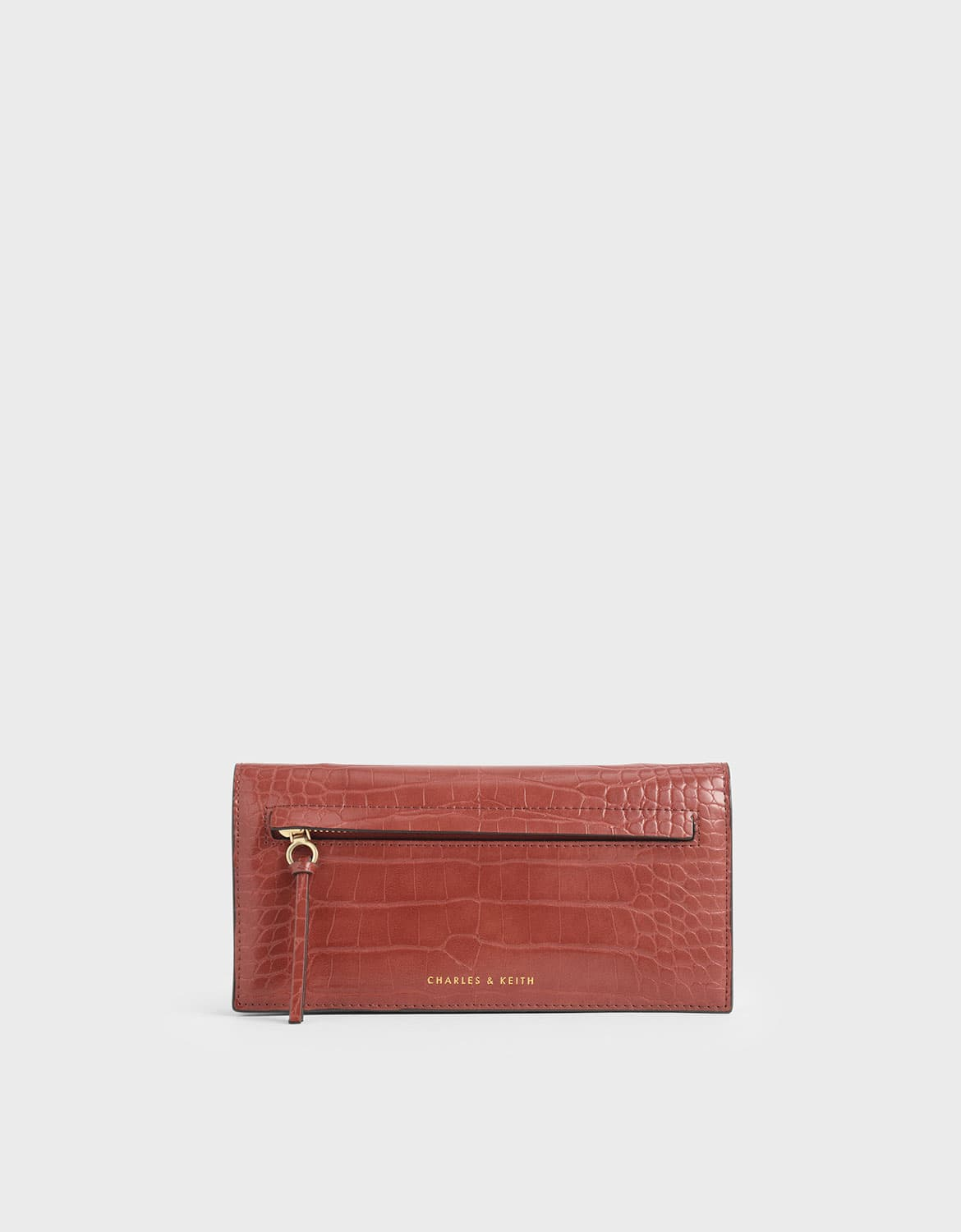 mini croc-effect front zip long wallet in clay – CHARLES & KEITH