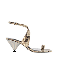 Leather Snake Print Chrome Heel Sandals