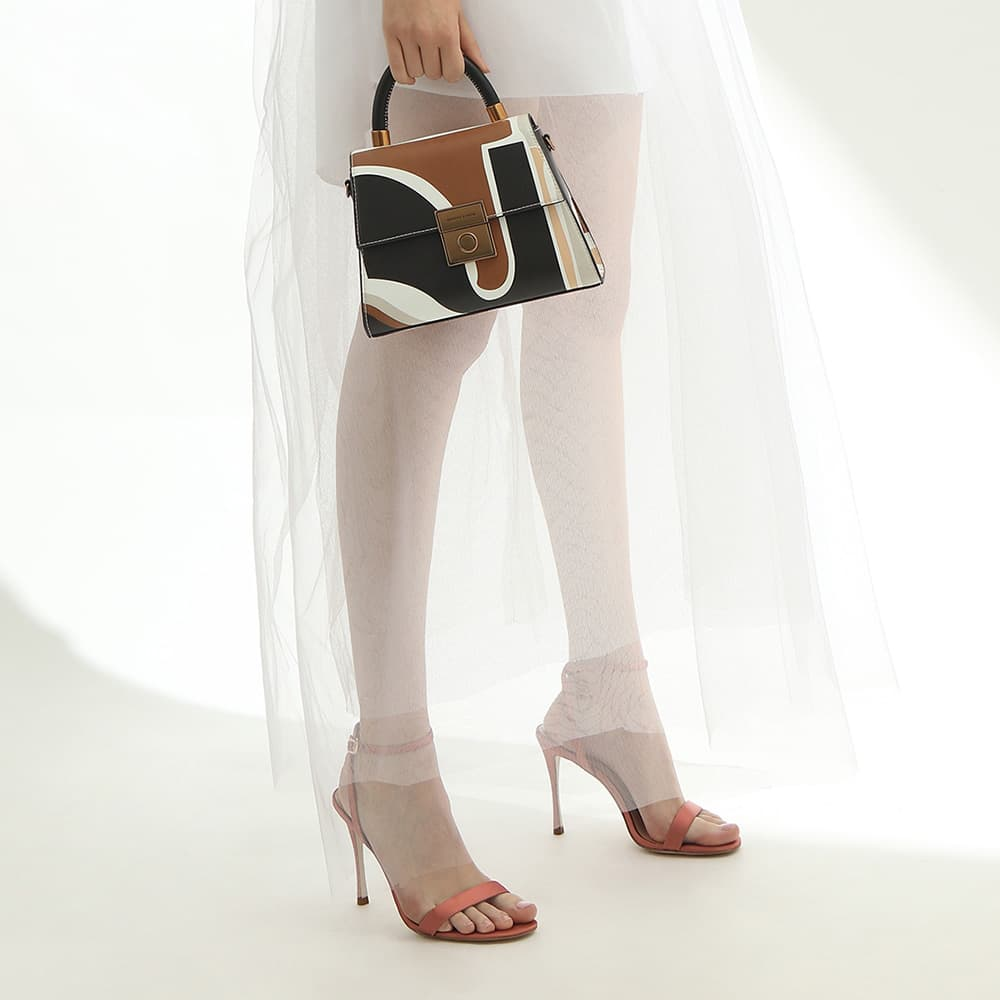 Women's multicolored printed structured sculptural bag and satin stiletto heels in pink - CHARLES & KEITH