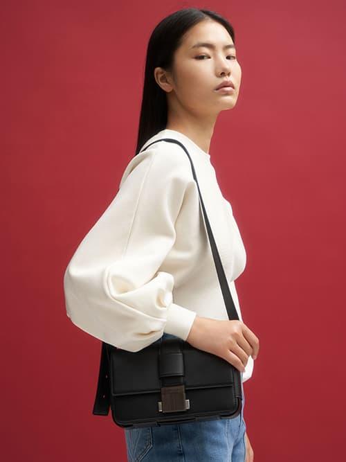Front Flap Push Lock Crossbody Bag, Black