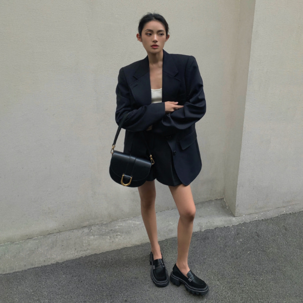 Women's Perline chunky loafers and Gabine saddle bag in black, as seen on Michella Choi - CHARLES & KEITH