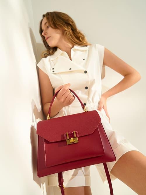 Stone-Embellished Geometric Bag, Red