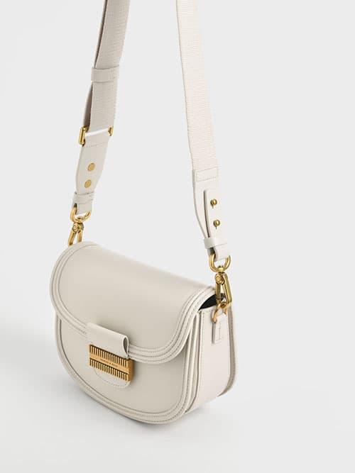 Embellished Saddle Bag, Cream