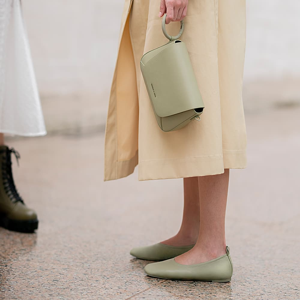 Women's sage green ruched ballerina flats, olive lace up combat boots and sage green front flap crossbody bag - CHARLES & KEITH