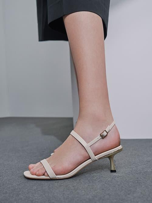 Metallic Ankle Strap Sandals, Chalk