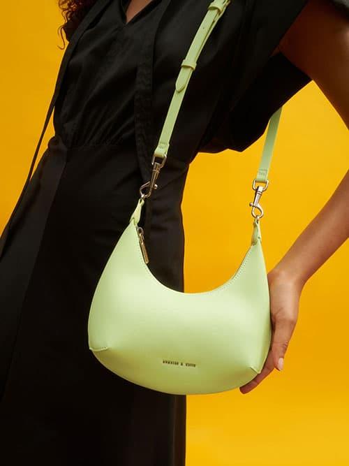 Beaded Handle Hobo Bag, Sage Green
