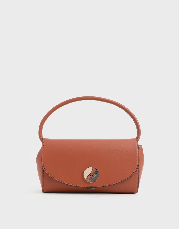 chunky chain handle mini shoulder bag in brick – CHARLES & KEITH