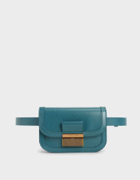 METALLIC PUSH-LOCK FRONT FLAP BAG