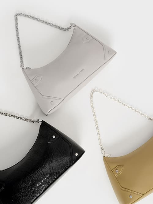 Chain Handle Crossbody Bag, Sand, Light Grey, Black
