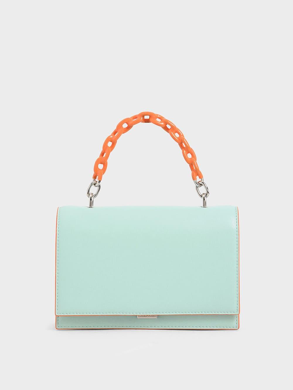 Two-Tone Chain Top Handle Bag