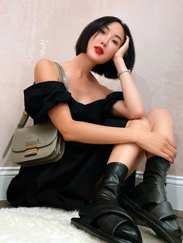 Women's Lucile flat calf boots  and Charlot crossbody bag, as seen on Chriselle Lim - CHARLES & KEITH