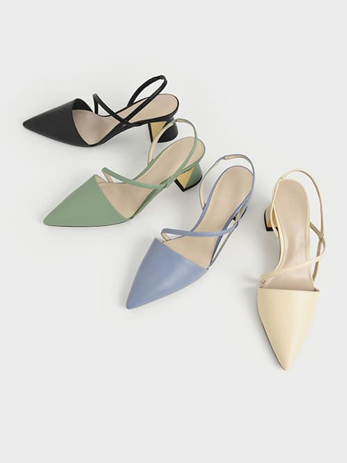 Asymmetric Strap Geometric Heel Pumps, Chalk, Light Blue, Black