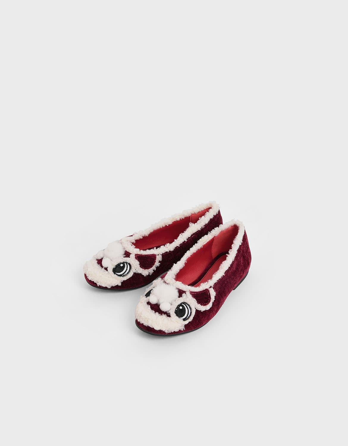 Girl's little lion ballerina flats in red – CHARLES & KEITH