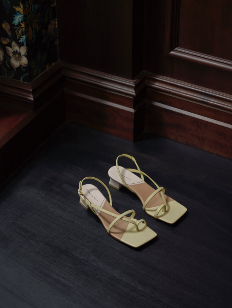Women's strappy slingback sandals in yellow - CHARLES & KEITH