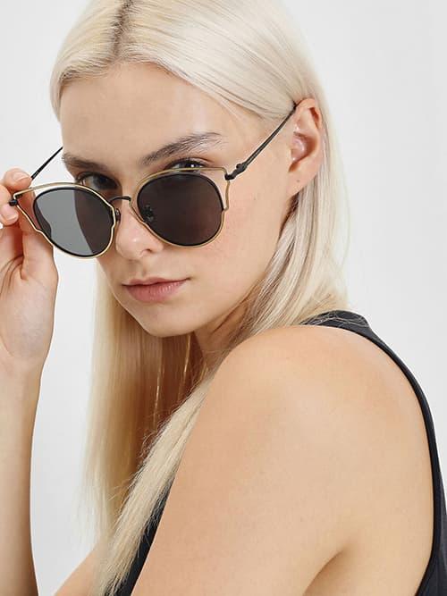 Double Frame Wingtip Sunglasses, Black