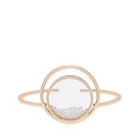 PEARL FINISH SANDSTONE FLOATING LOCKET CUFF BRACELET