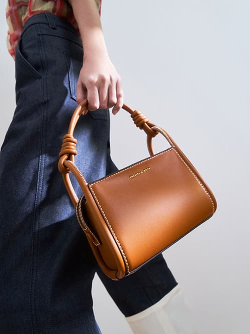 Knotted Handle Boxy Bag, Cognac