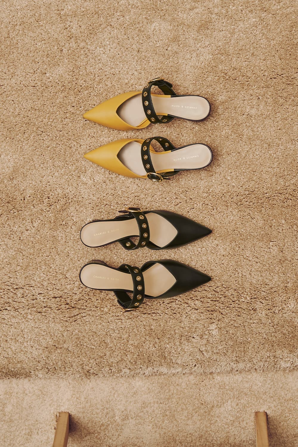 Women's yellow grommet mules and black grommet mules - CHARLES & KEITH