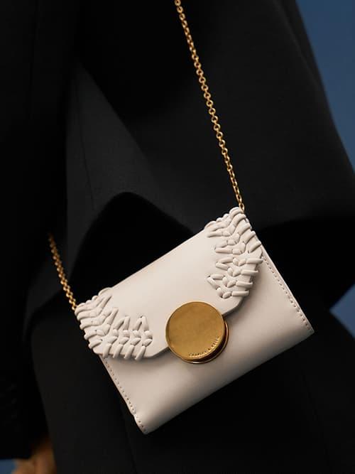 Stitch-Trim Short Wallet, Ivory