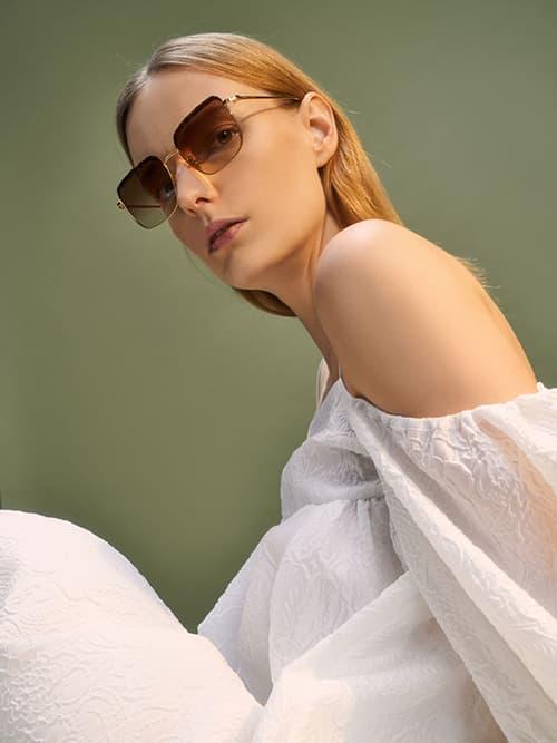 Thin Metal Frame Square Tortoiseshell Sunglasses, T. Shell