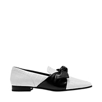 Croc-Effect Leather Bow-Tie Loafers