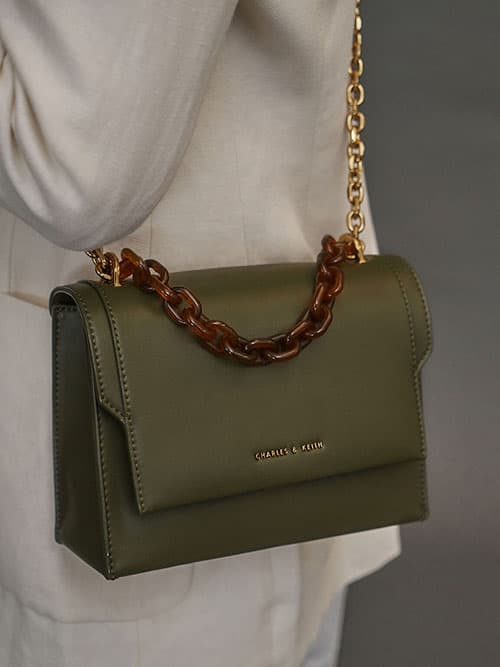 Chunky Chain-Link Crossbody Bag, Olive