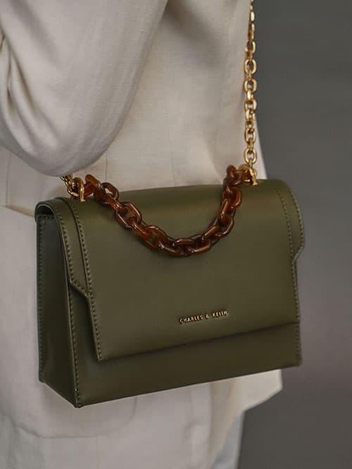 鍊條掀蓋斜背包,橄欖色