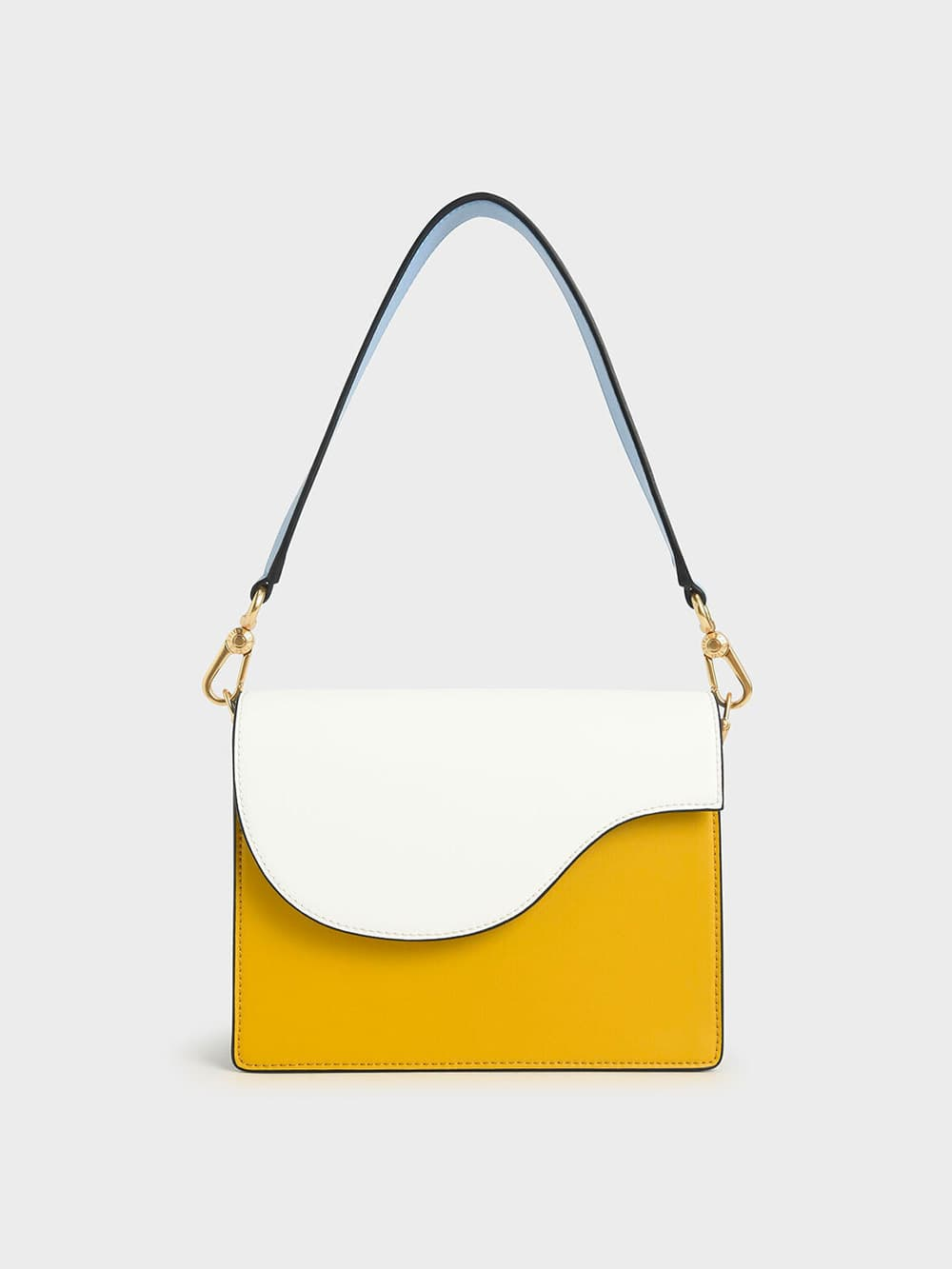 Two-Tone Angular Flap Shoulder Bag